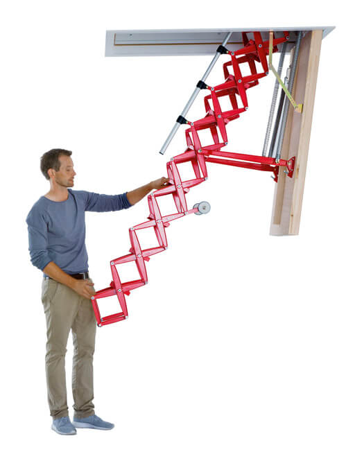 Supreme heavy duty retractable loft ladder with highly insulated loft hatch. Premier Loft Ladders