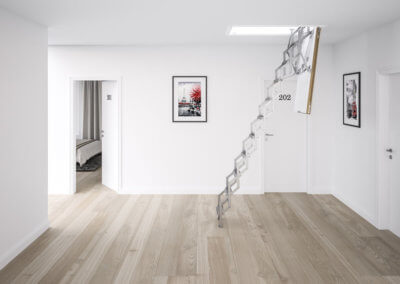 Concertina loft ladder, the Ecco from Premier Loft Ladders. space saving concertina loft ladder with insulated hatch