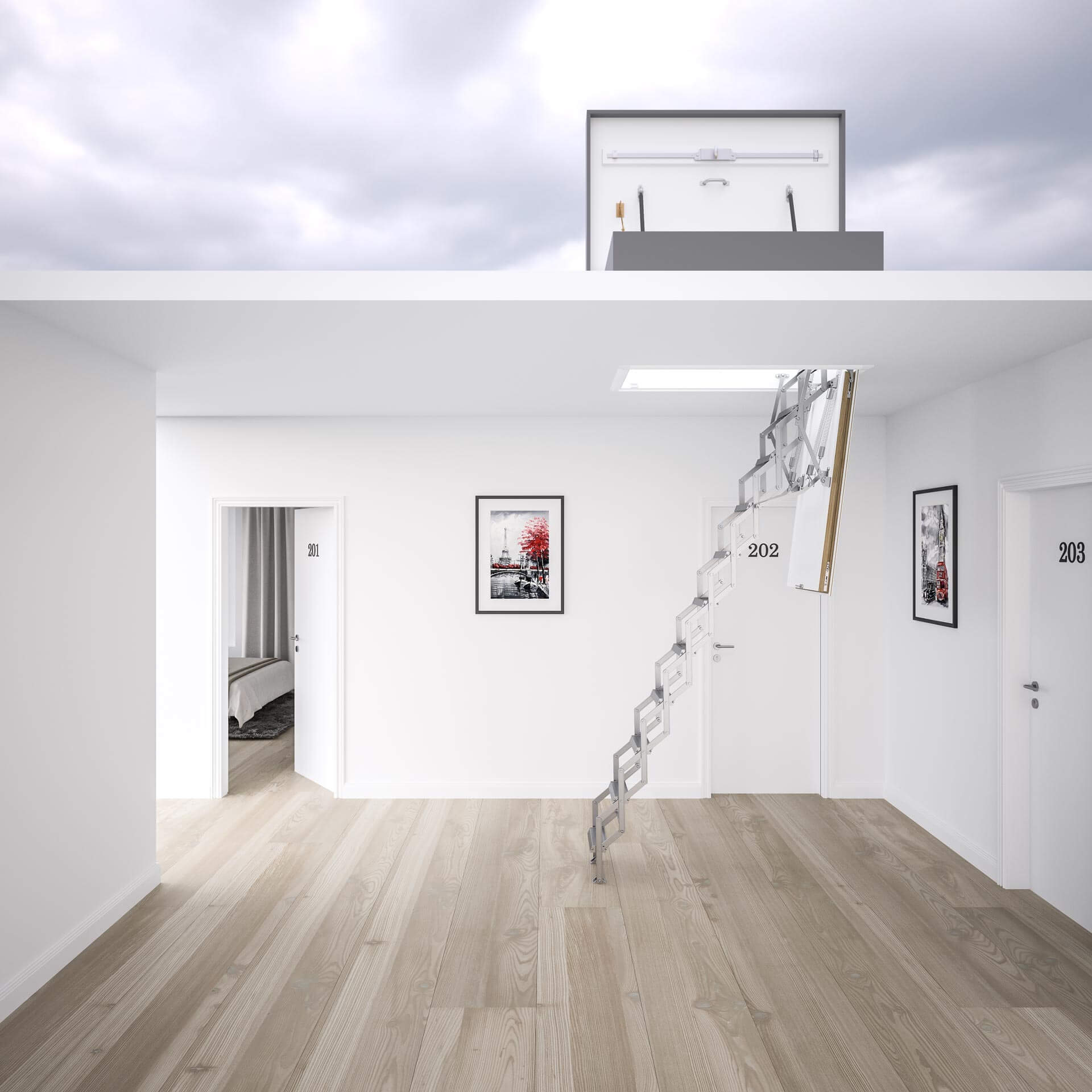 Concertina loft ladder with roof hatch, Ecco from Premier Loft Ladders. Weather resistant flat roof hatch