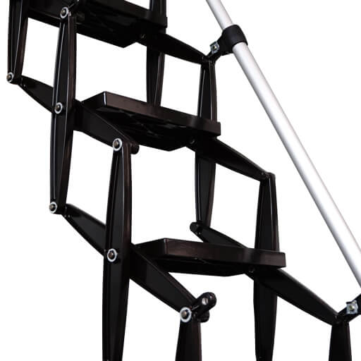 Supreme loft ladder with black powder coat finish. From Premier Loft Ladders.