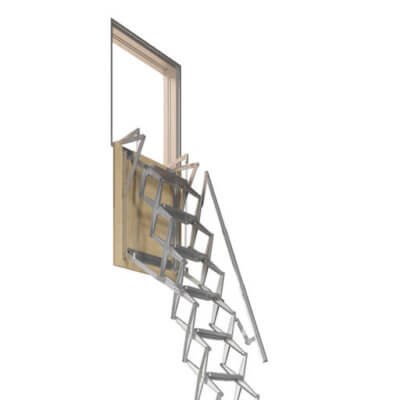ADJ Wall Loft Ladder. Vertical wall hatch and concertina loft ladder