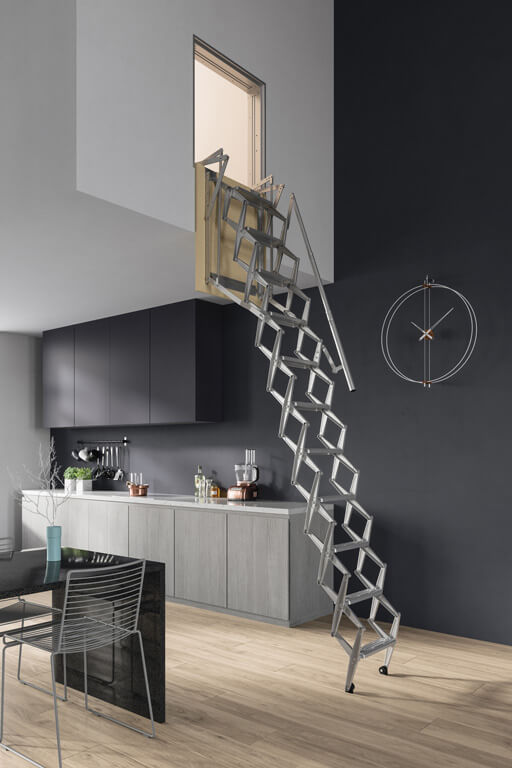 ADJ vertical wall hatch Loft Ladder. Compact concertina loft ladder for vertical installation