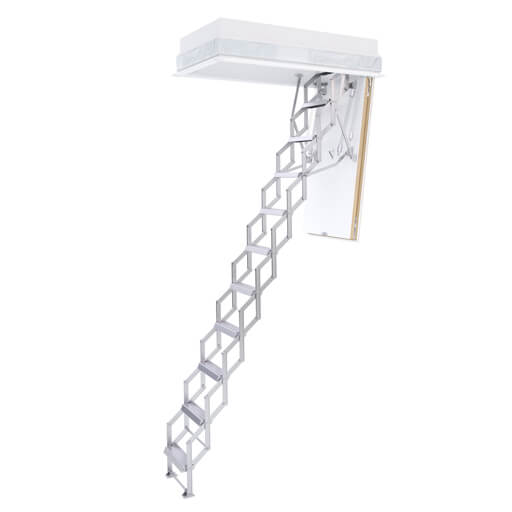 Space saving aluminium loft ladder with insulated hatch box. The Ecco concertina loft ladder from Premier Loft Ladders