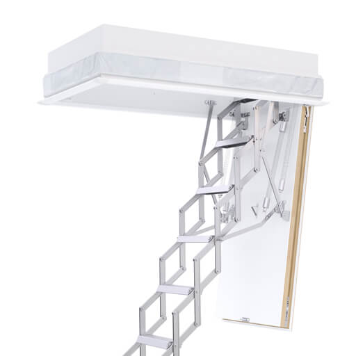 Concertina loft ladder with insulated hatch box. The Ecco concertina loft ladder from Premier Loft Ladders