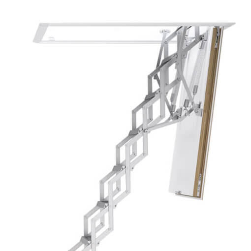Aluminium concertina loft ladder with insulated hatch box. The Ecco loft ladder.