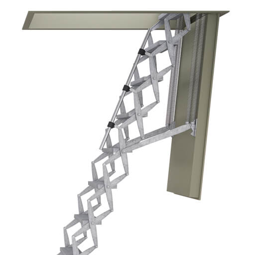 Supreme fire resistant loft ladder with steel hatch box.
