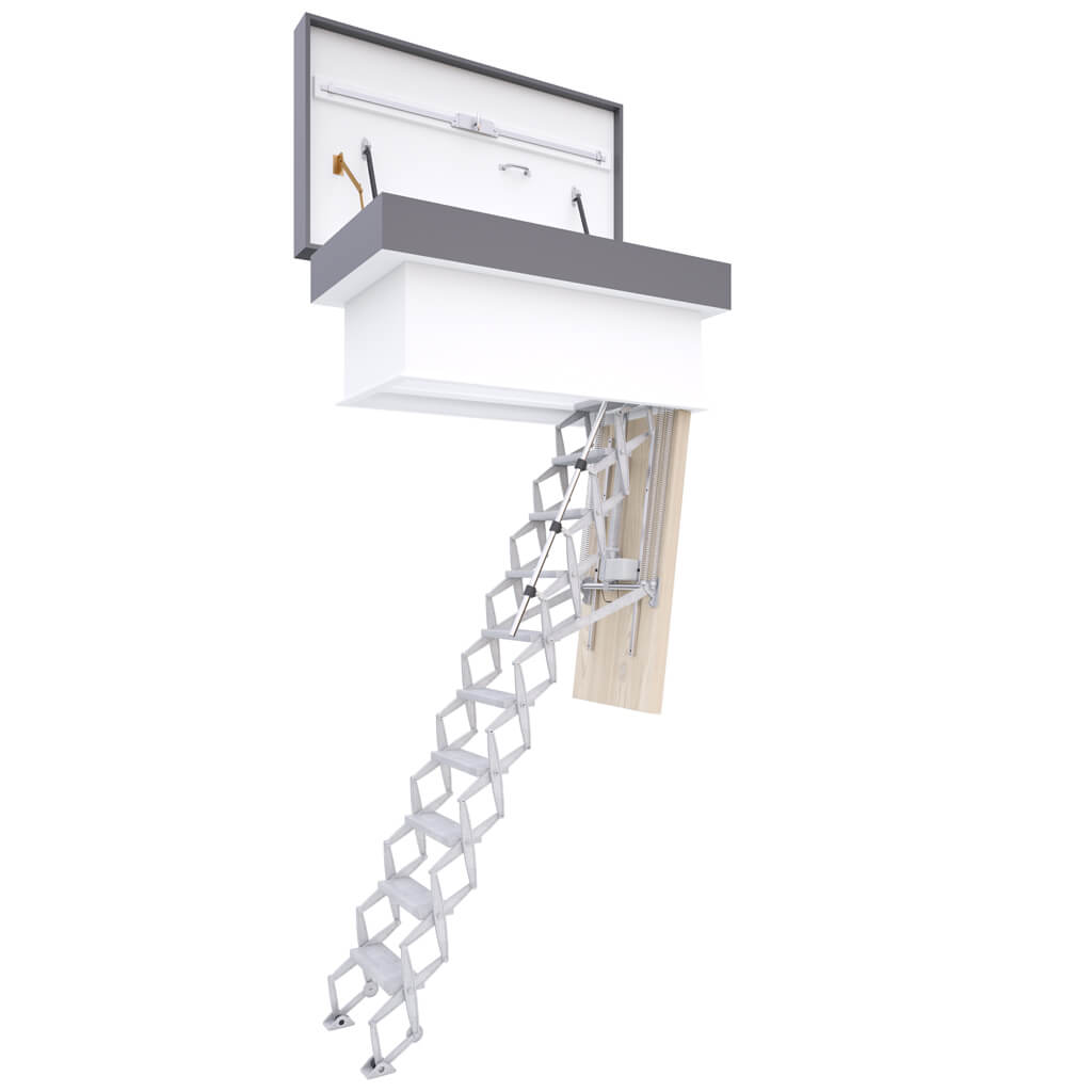 Flat roof access ladder. Electrically operated ladder. Highly insulated and weather resistant hatch. Premier Loft Ladder