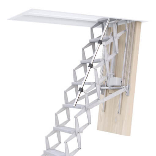Supreme electric Loft Ladder. Electrically operated loft ladder. High strength and low noise. Premier Loft Ladders