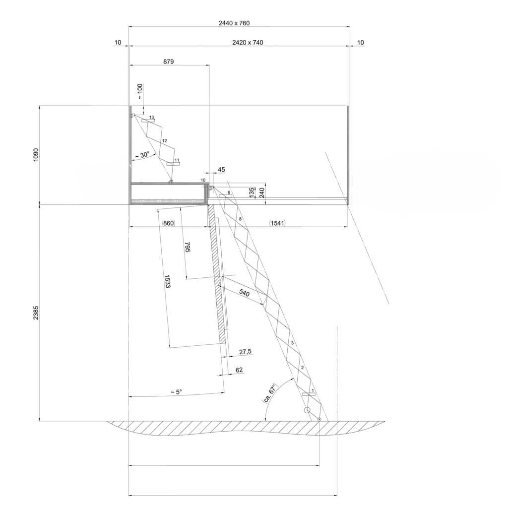Custom loft hatch with electric ladder drawing. Premier Loft Ladders