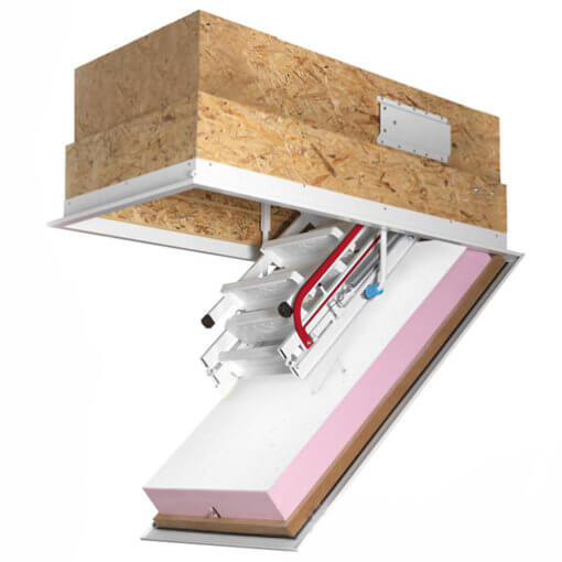Klimatec 160 passivhaus loft ladder. Highly insulated and fire rated hatch box.