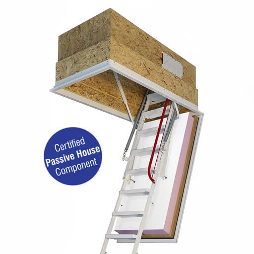 Passivhaus loft ladder - Klimatec 160. Highly insulated and fire rated hatch box. High strength steel ladder.