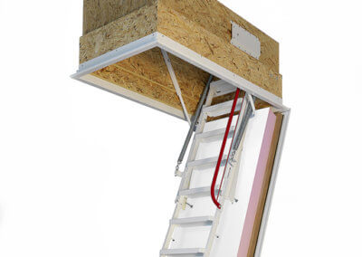 Passivhaus loft ladder. Klimatec 160. Highly insulated and fire rated hatch box. High strength steel ladder.