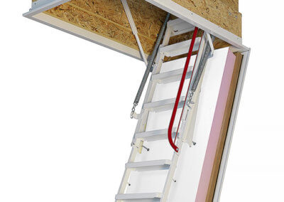 Klimatec 160 passivhaus loft ladder. Highly insulated, airtight and fire rated hatch. High strength steel folding ladder.