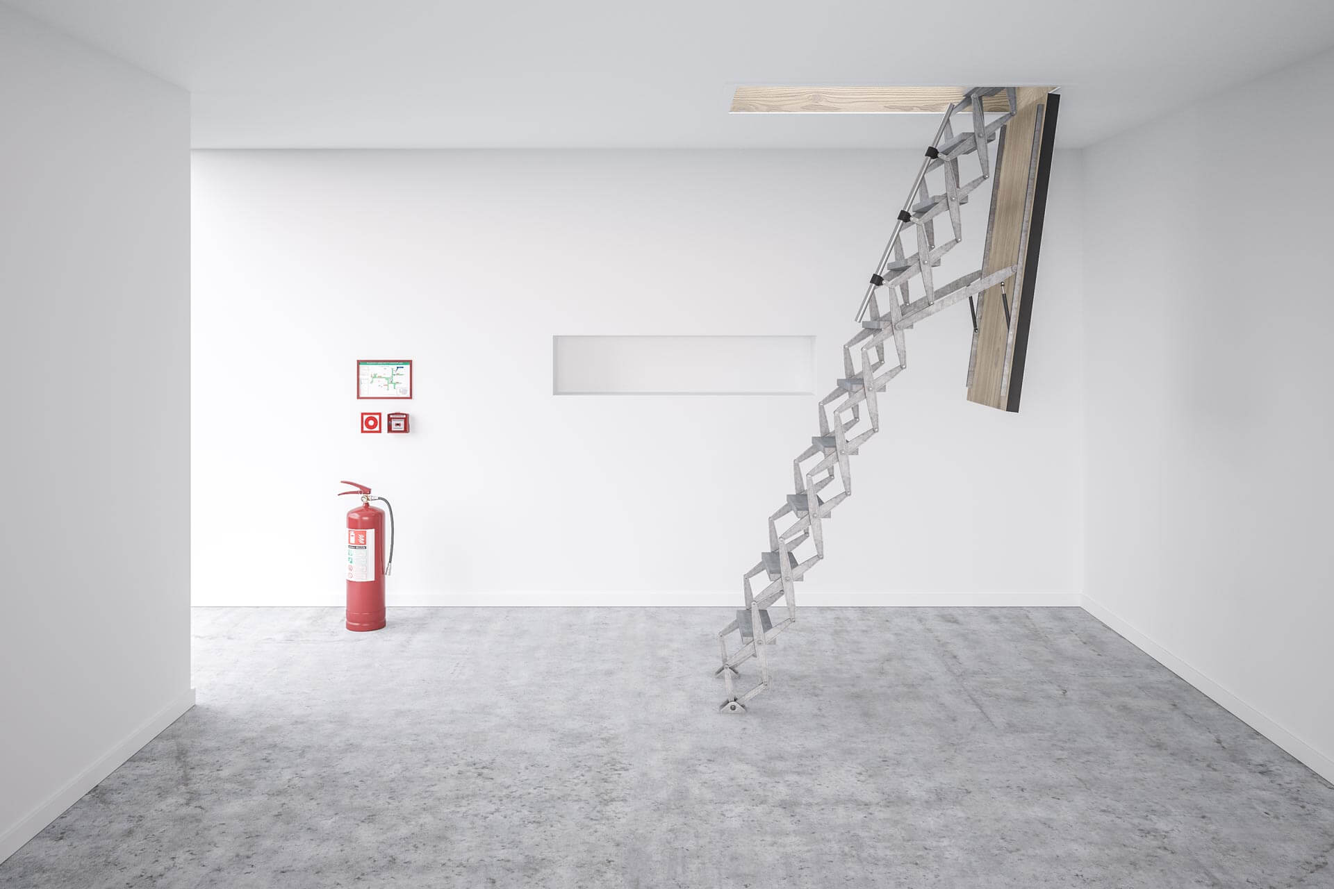 Supreme F30 loft ladder with wooden hatch. Suitable for commercial and industrial projects. Premier Loft Ladders