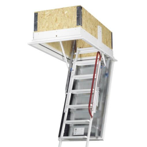 Isotec fire rated loft ladder. Highly insulated, airtight and fire rated hatch. High strength steel folding ladder.