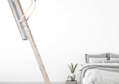 Quadro Loft Ladder with insulated loft hatch. Ideal for use in bedroom. Premier Loft Ladders