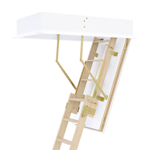 Quadro 2 sliding wooden loft ladder for high ceiling rooms. With insulated and airtight hatch. Premier Loft Ladders