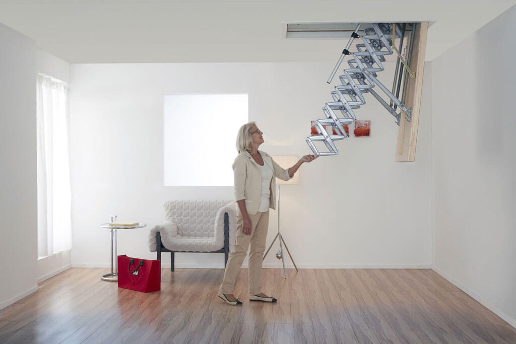 Supreme manual loft  ladder offers lightweight operation.