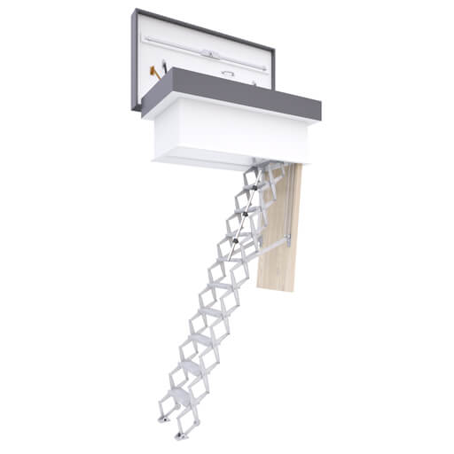 Commercial loft ladders and weather resistant hatches for safe and secure access to a flat roof