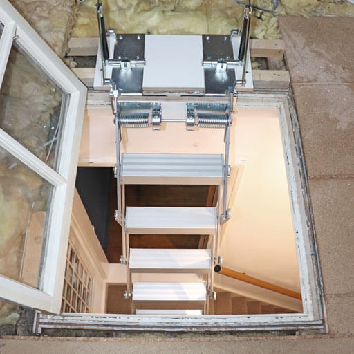 Glass loft hatch ladder - Piccolo Premium Vertical from Premier Loft Ladders