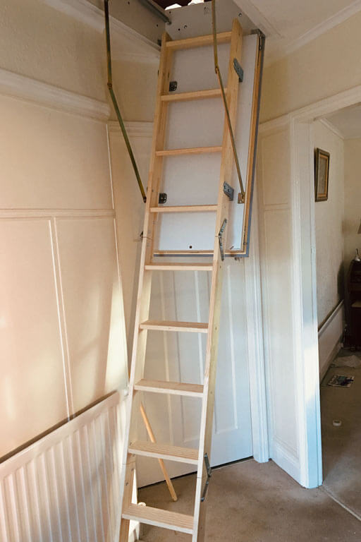 Quadro wooden pull-down loft ladder for small ceiling opening. Premier Loft Ladders