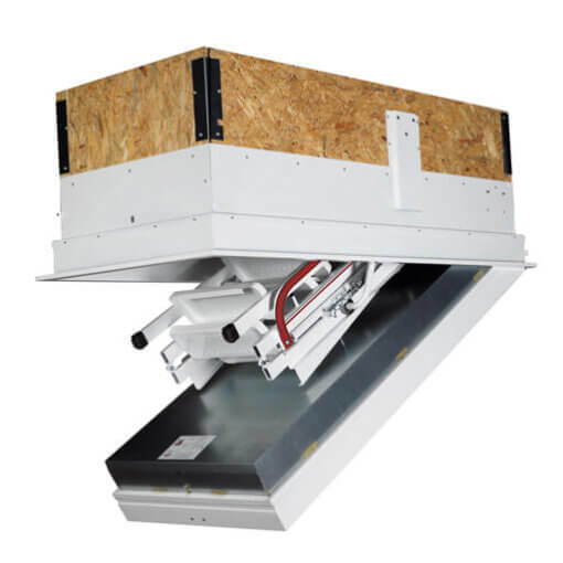 Isotec 200 fire rated loft hatch with ladder. Folding steel ladder with counter balance operation