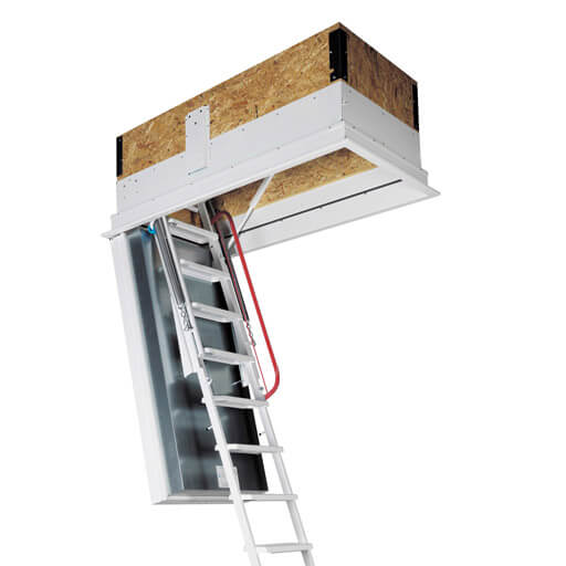 Isotec 200 fire rated loft ladder with superb thermal insulation & airtight seal. High strength steel folding ladder.