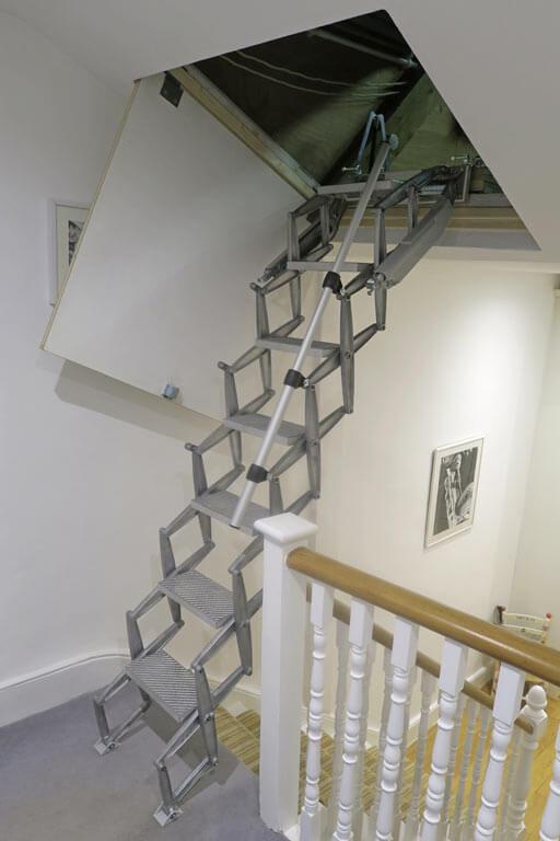 Loft ladder for sloping loft hatch. Elite Vertical loft ladder from Premier Loft Ladders