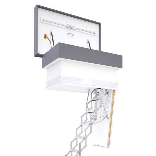 Ecco flat roof access hatch with concertina ladder. Available from Premier Loft Ladders