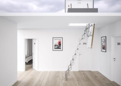 Ecco loft ladder with flat roof access hatch. Premier Loft Ladders
