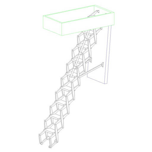 Supreme retractable ladder BIM object. From Premier Loft Ladders.