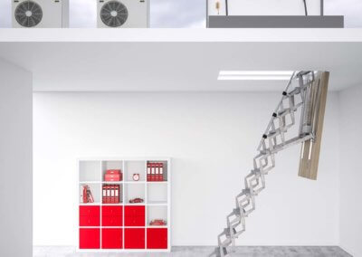 Supreme heavy duty electric ladder with flat roof access hatch. Premier Loft Ladders