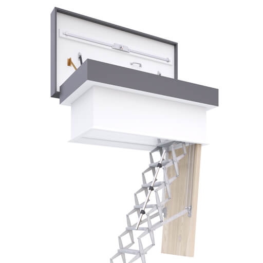 High-quality loft ladder with flat roof access hatch. Easy to operate, highly insulated and weather resistant.