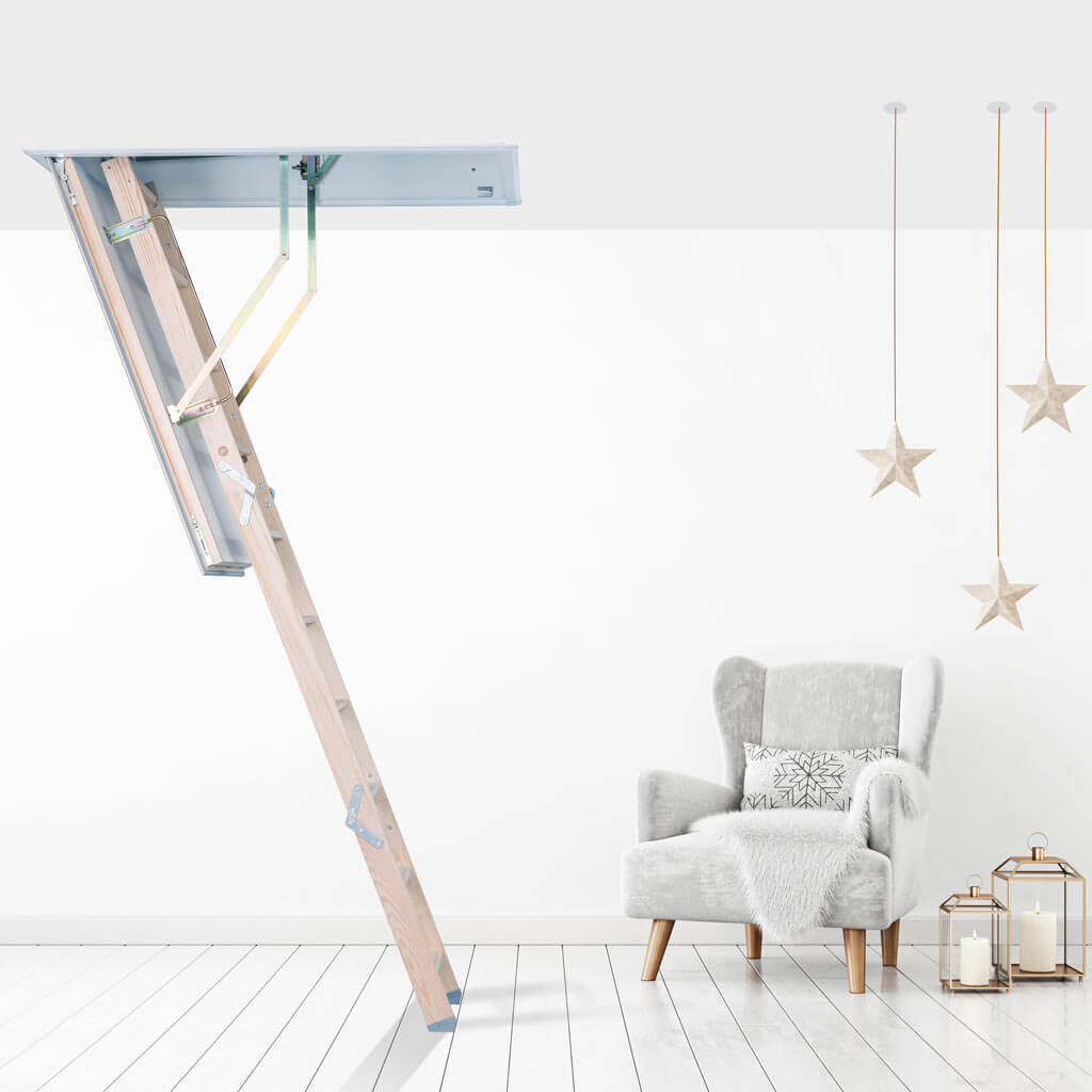Quadro Loft Ladder. Safe and easy access to Christmas decorations stored in a loft. Premier Loft Ladders