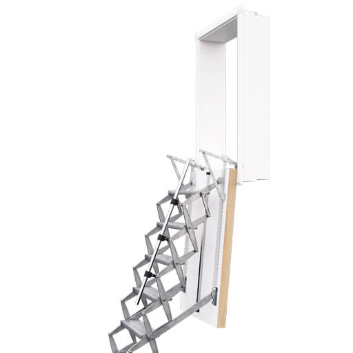 Supreme heavy duty Loft ladder with vertical wall hatch. Premier Loft Ladders