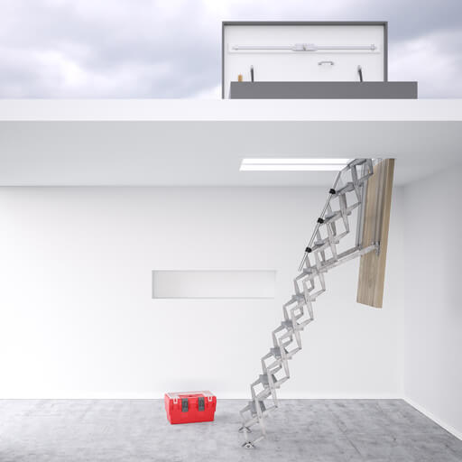 Commercial roof access ladder and weather resistant hatches for safe and secure access to a flat roof