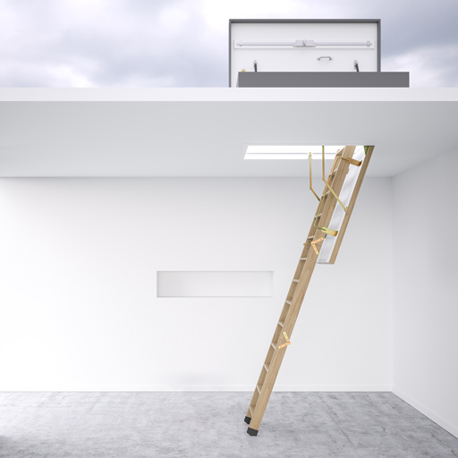 Flat roof access hatch with wooden ladder