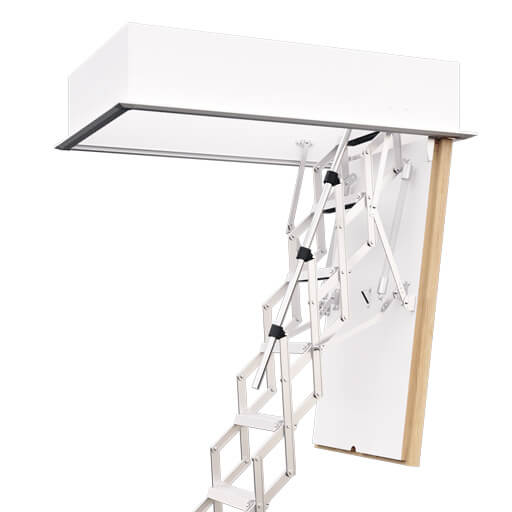 MiniLine fire resistant loft ladder. Compact aluminium concertina loft ladder. Up to 60 mins fire rating. Premier Loft Ladders