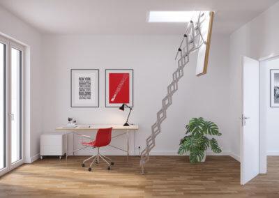 MiniLine fire rated loft ladder. Space saving retractable loft ladder. Premier Loft Ladders