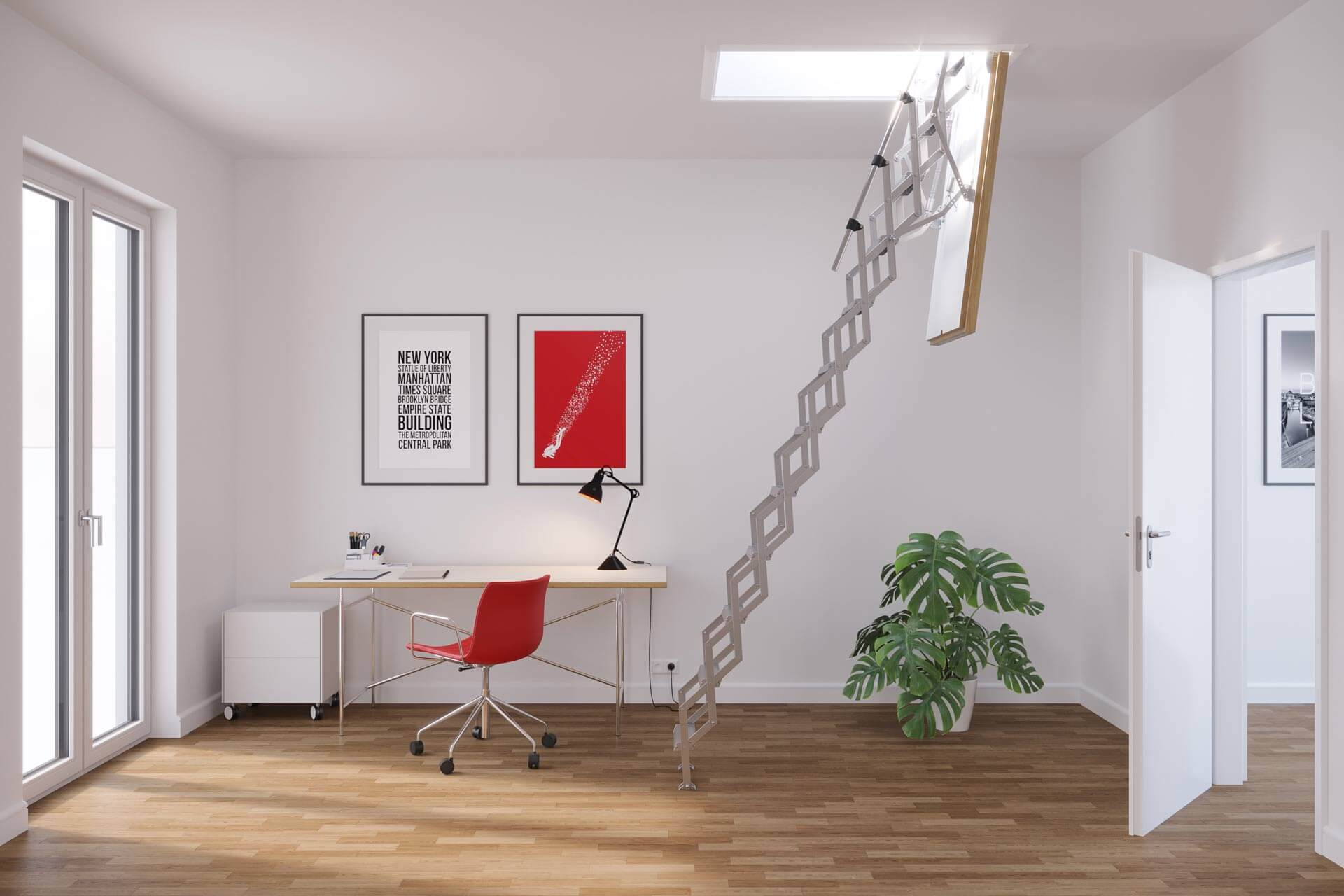 MiniLine fire rated concertina loft ladder. Ideal for office repurposing and refurbishment projects. Premier Loft Ladders