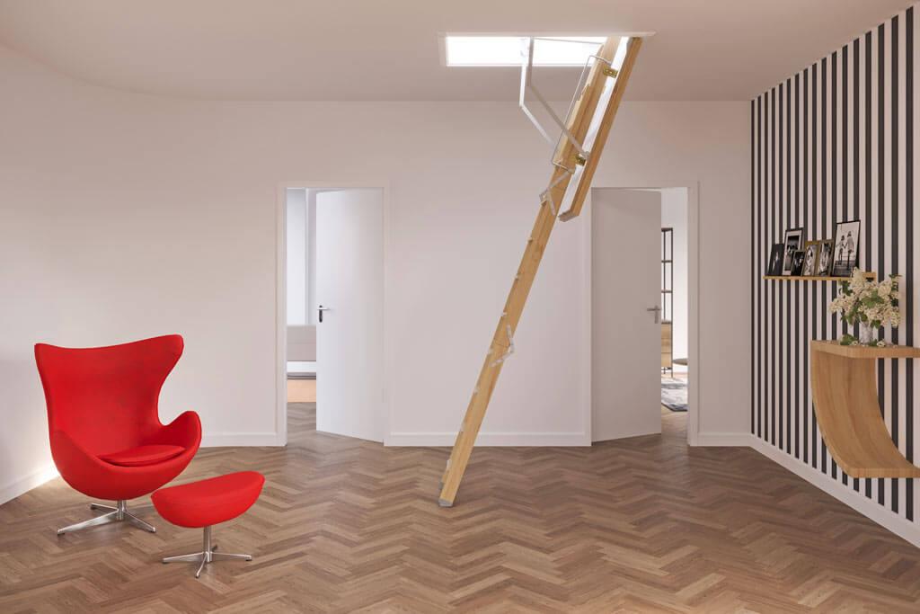 ProfiLine fire rated wooden loft ladder. F30, F30 Plus and F60 ratings. Premier Loft Ladders