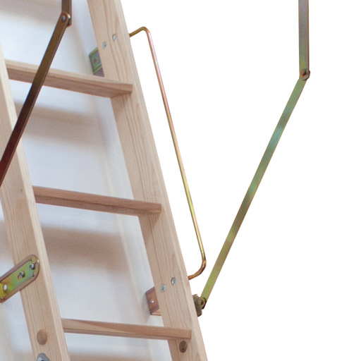 Wooden loft ladder with handrail.
