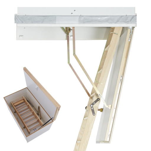 Pull-down loft ladder with upper hatch for superb thermal insulation