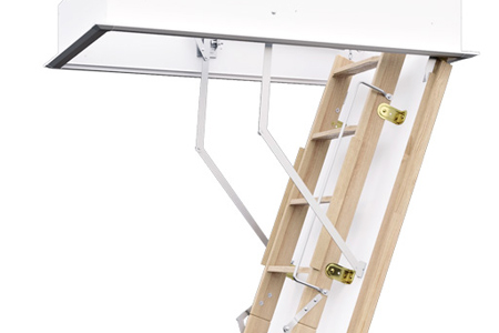 Wooden, fire resistant, flat roof access ladder