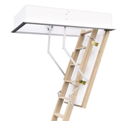 Fire resistant wooden loft ladder with insulated hatch. ProfiLine from Premier Loft Ladders