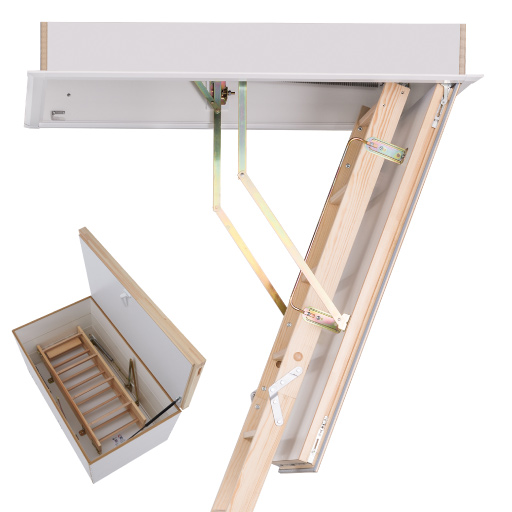 Quadro DD wooden attic ladder with insulated upper loft hatch. Premier Loft Ladders