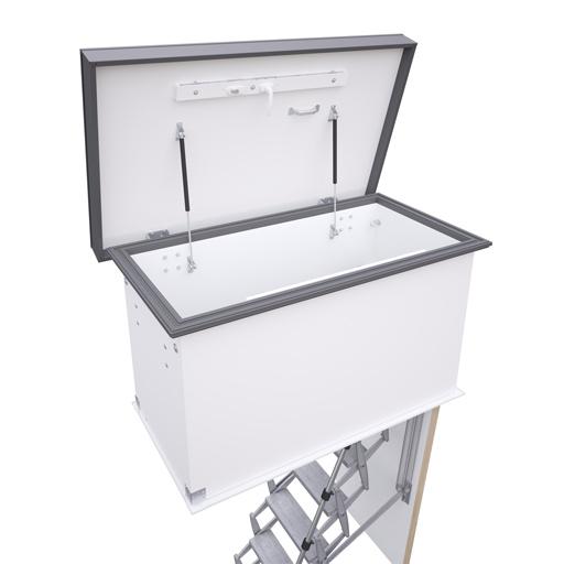 Flat roof access hatch with heavy duty Supreme loft ladder. Premier Loft Ladders