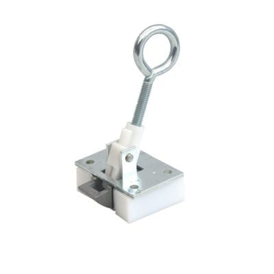 Loft hatch catch. Spring-action latch with eye-bolt for wooden loft door