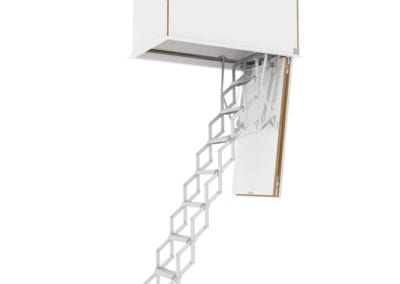 Concertina loft ladder with flat roof access hatch. Available from Premier Loft Ladders