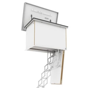 Ecco flat roof access hatch with concertina ladder. Premier Loft Ladders
